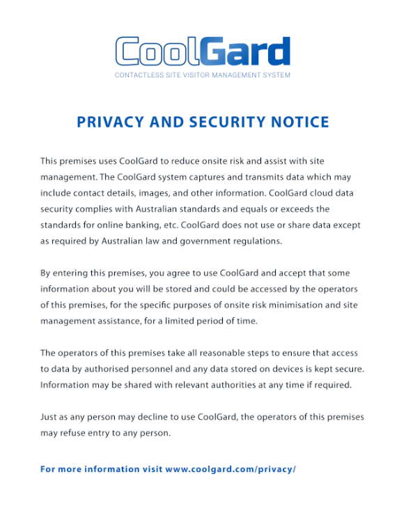 CoolGard privacy and security notice