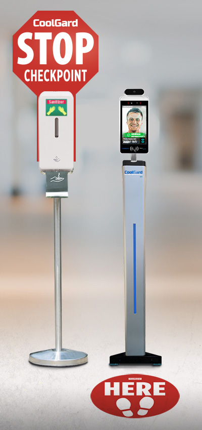 CoolGard station with floorstand device and hand sanitizer