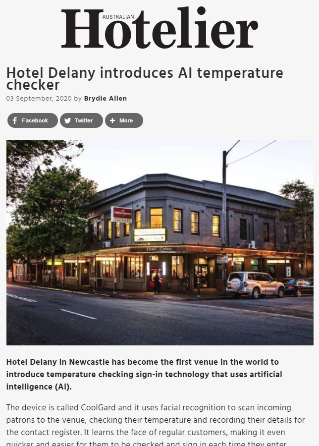 Australian Hoteliers - CoolGard contactless venue management system
