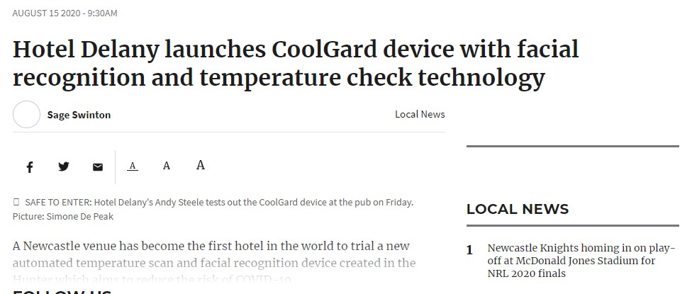 Newcastle Herald CoolGard at Hotel Delany